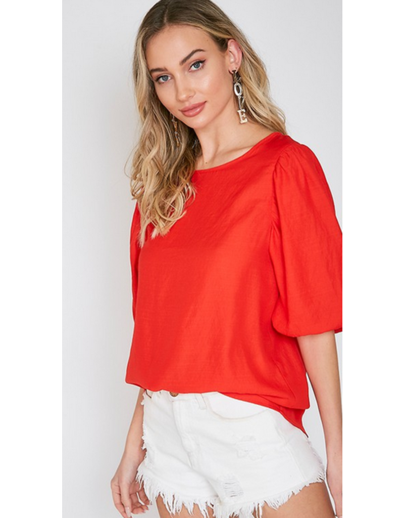 Tomato red balloon sleeve top