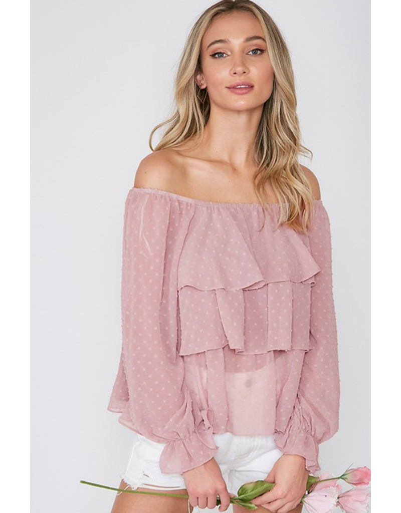 VINE AND LOVE off the shoulder ruffle detail top