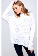 VINE AND LOVE Heart shaped pompom sweater