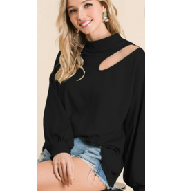 BIBI Black Terry knit top with cut out detail and puff sleeves