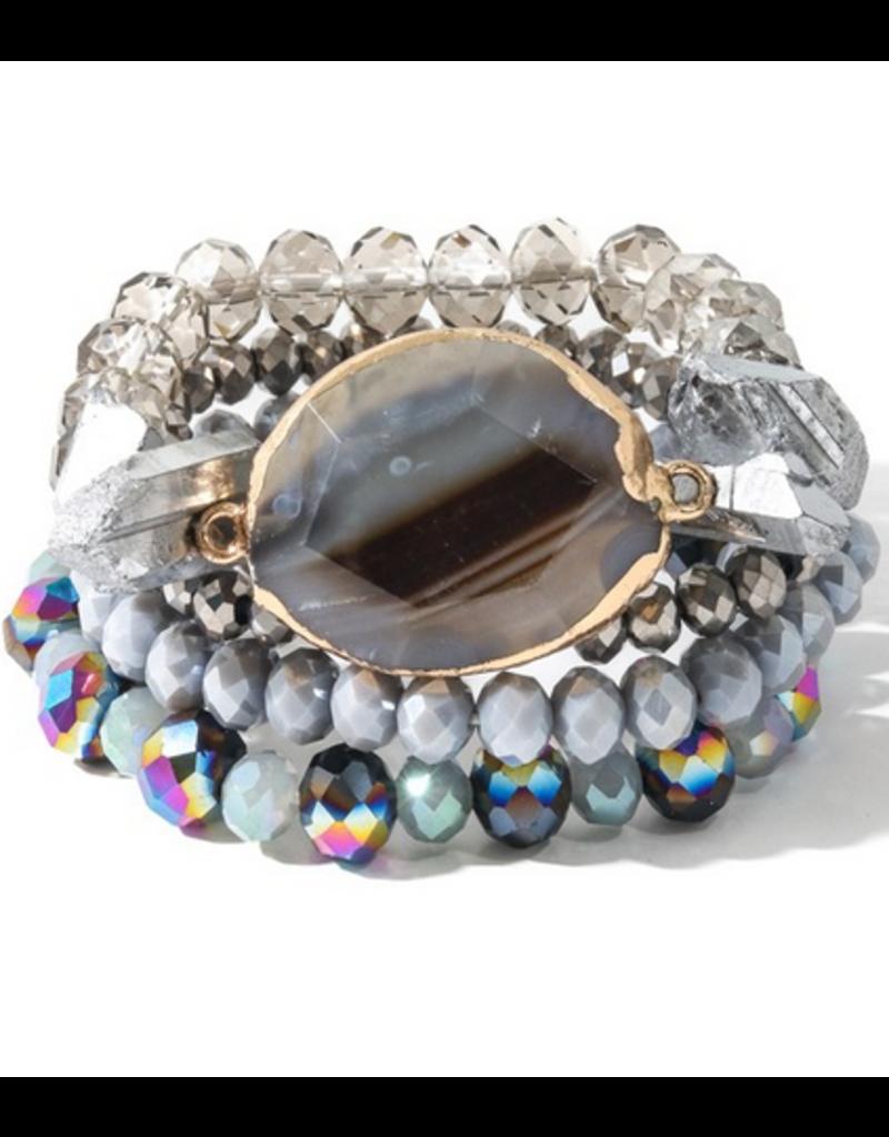 Anarchy street Oval stone stackable bracelet