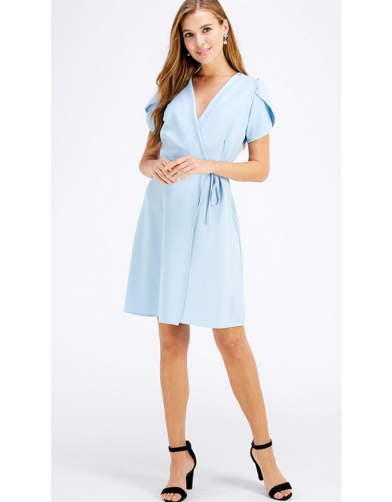 2hearts Solid tulip sleeve wrap dress