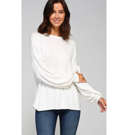 2hearts Solid jersey bubble sleeve top Ivory