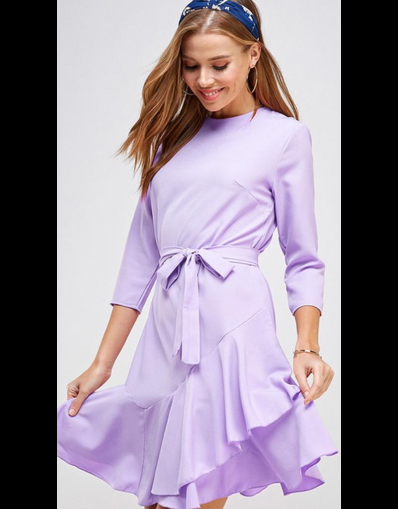 2hearts Solid asymmetrical ruffle hem belted dress