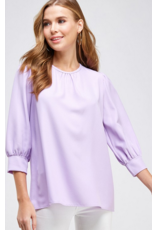 2hearts Solid shirred neckline and shoulder cuffed bloused