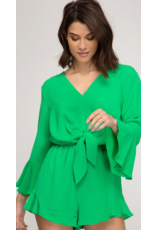 CloudWalk Co Apple green bell sleeve romper with front tie detail