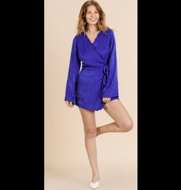 CloudWalk Co Cobalt satin long sleeve wrap short jumpsuit with scallop trim