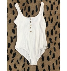 Apple Tree Apparel Front button ribbed bodysuit