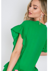 Green Ruffled Round Neck Top 2 Layers at Bottom