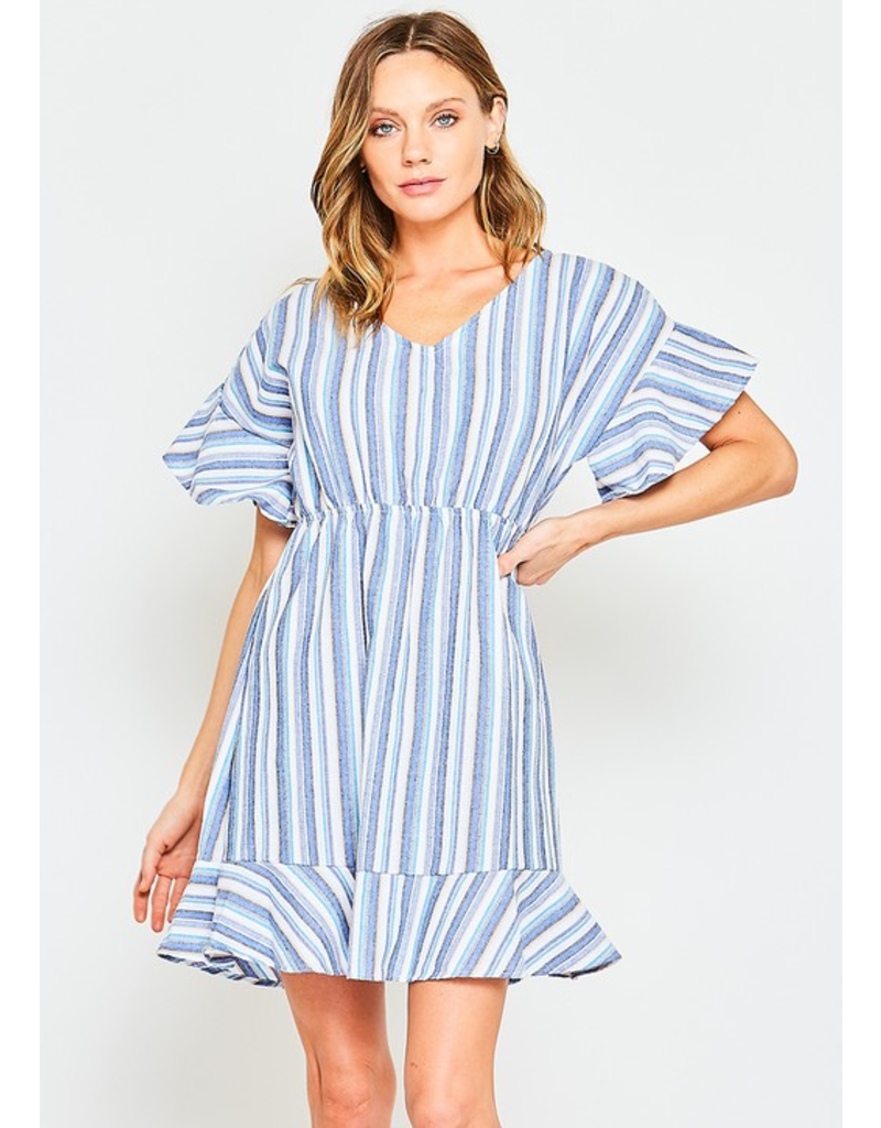 Blue Multi Color Stripe Ruffle Hem Woven Dress