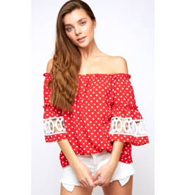 Red Dotted Off the Shoulder Top Crochet Trim