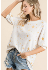 Macaron All over knit sleeve foil star top