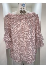 VINE AND LOVE Leopard blush chiffon off the shoulder top
