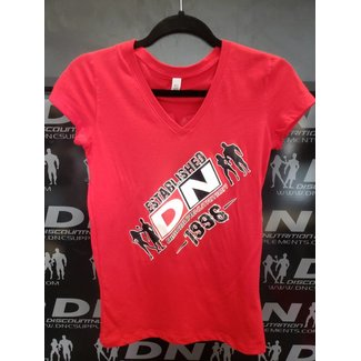 Discount Nutrition DN WOMEN'S T-SHIRT ESTABLISHED RED SMALL