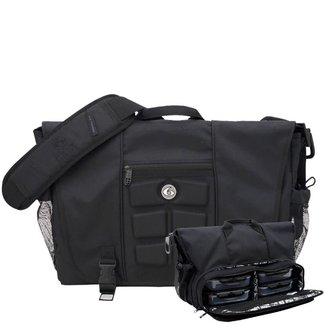 6 Pack Titan Messenger Meal Management Stealth Black Bag