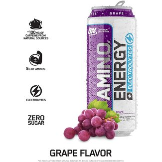 Optimum Nutrition Amino Energy + Electrolytes RTD Grape 12 Fl Oz