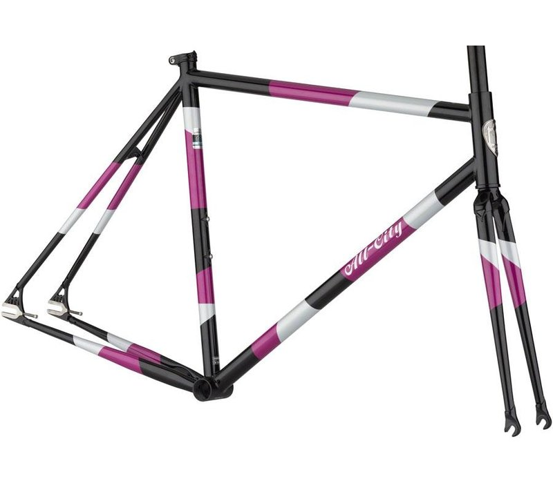 All-City Big Block Frameset - 700c, Steel, Midnight/Frost/Violet, 52cm