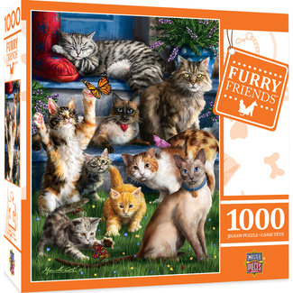 Master Pieces Furry Friends - Butterfly Chasers 1000pc Puzzle
