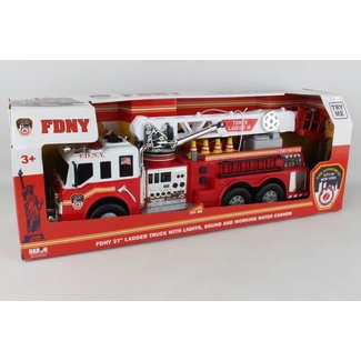 FDNY large ladder fire truck with hose