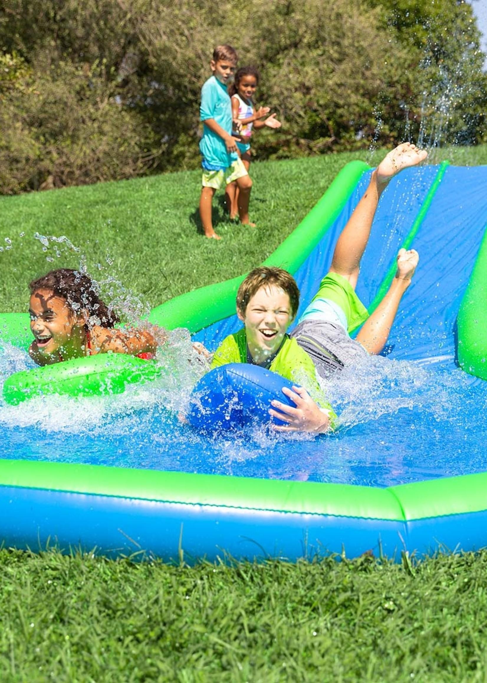Hearthsong Ultimate Dual Water Slide Sprinkler with Two Speed Boards