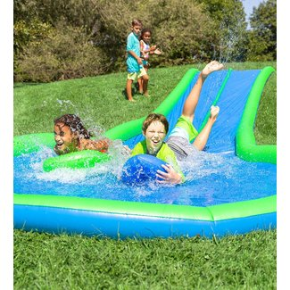 Hearthsong Ultimate Dual Water Slide Sprinkler with Two Speed Boards