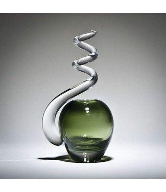Michiko Maekawa Spiral Bud Vase Apple Eel Green