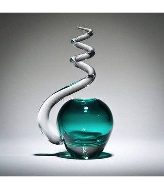 Michiko Maekawa Spiral Bud Vase Apple Jade Green
