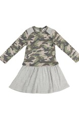 Frenchie Frenchie Terry Camo and Grey Ruffle Bottom Dress