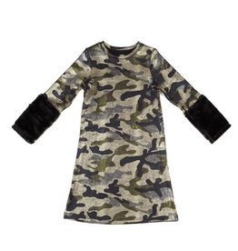 Frenchie Frenchie Camo and Fur Dress
