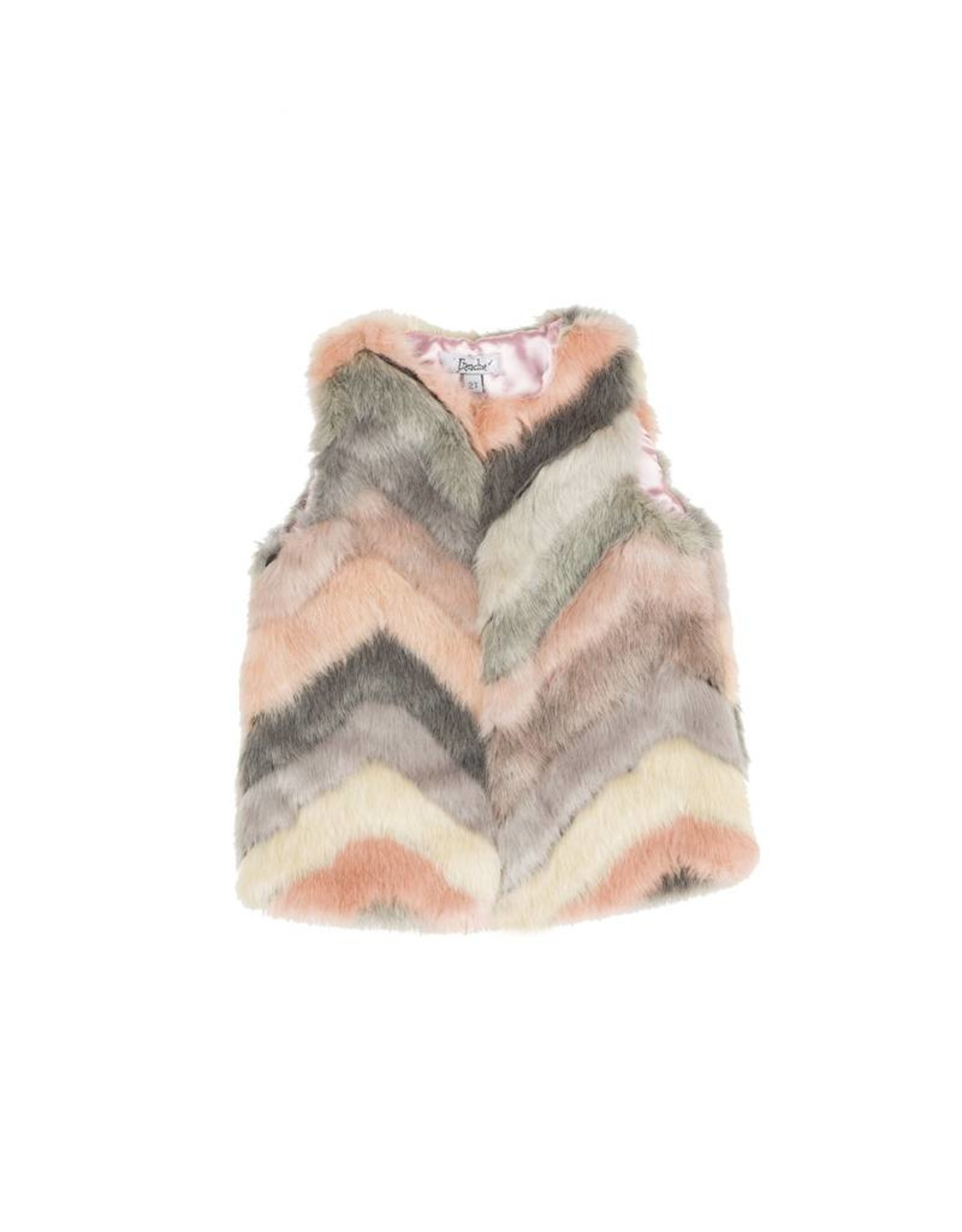 Frenchie Frenchie Pastel Faux Fur Hooded Fur Vest