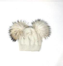 Maniere Maniere Double Racoon Fur Baby Pom Beanie