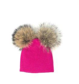 Maniere Maniere Kids Double Racoon Fur Pom Hat
