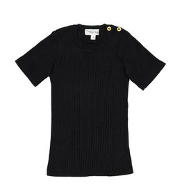 Analogie Analogie SS19 Ribbed Knit Short Sleeve Top