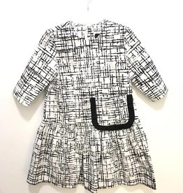 Chez Bambini MI Collection Black/White Ruffled Dress with Pocket
