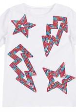Miss Meme Miss Meme Lightning and Stars White T-Shirt