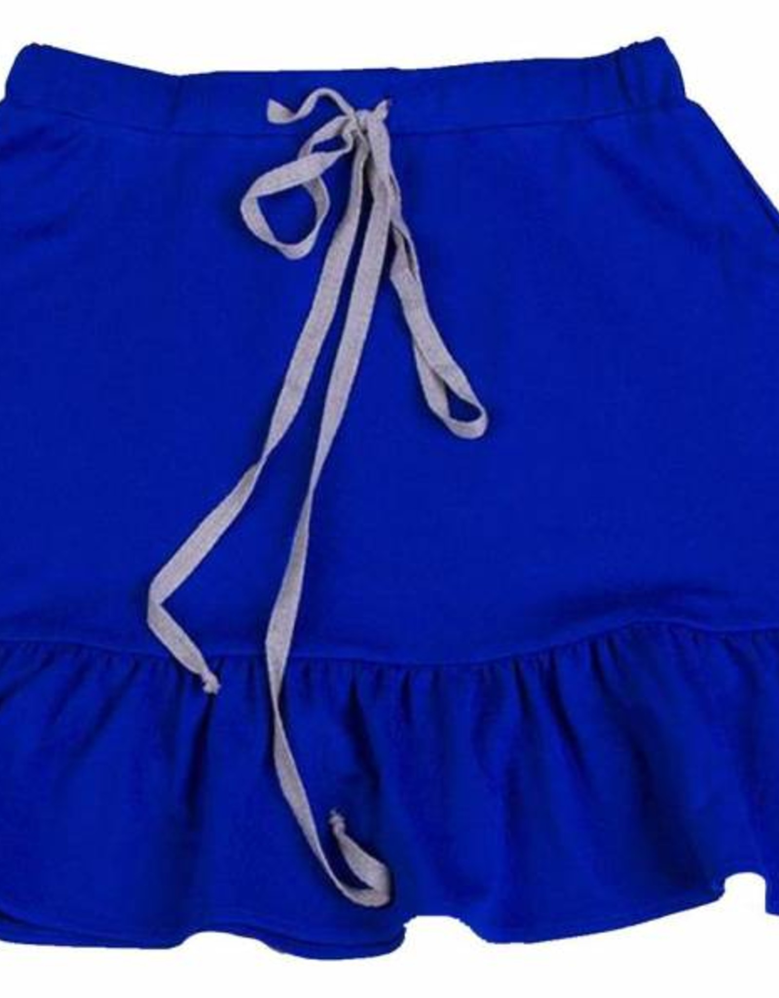 Miss Meme Royal Blue Drawstring Skirt With Ruffled Bottom Toetally You
