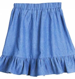 Miss Meme Miss Meme Ruffled Bottom Denim Skirt