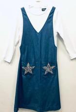 Noni Noni Denim Faux Jumper Dress with Star Pocket