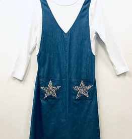 Noni Noni Denim Faux Jumper Dress with Star Pocket