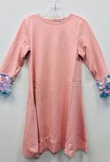 Miss Meme Miss Meme Pink Dress with Sequin Cuffed Sleeve