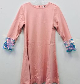 Miss Meme Miss Meme Pink Dress with Sequin Cuffed Sleeve