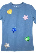 Boboya Boboya Heart and Star Sequin Patch Top