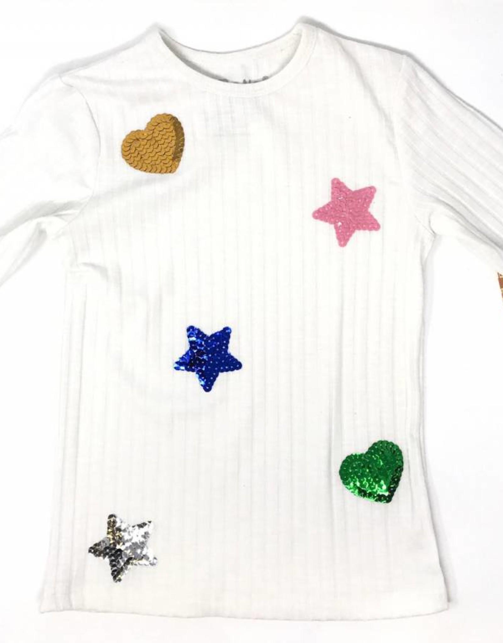 Boboya Boboya Heart and Star Sequin Patch Top