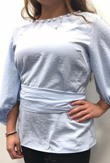 Sport Chic Sport Chic Belted Blue Top with Pearls