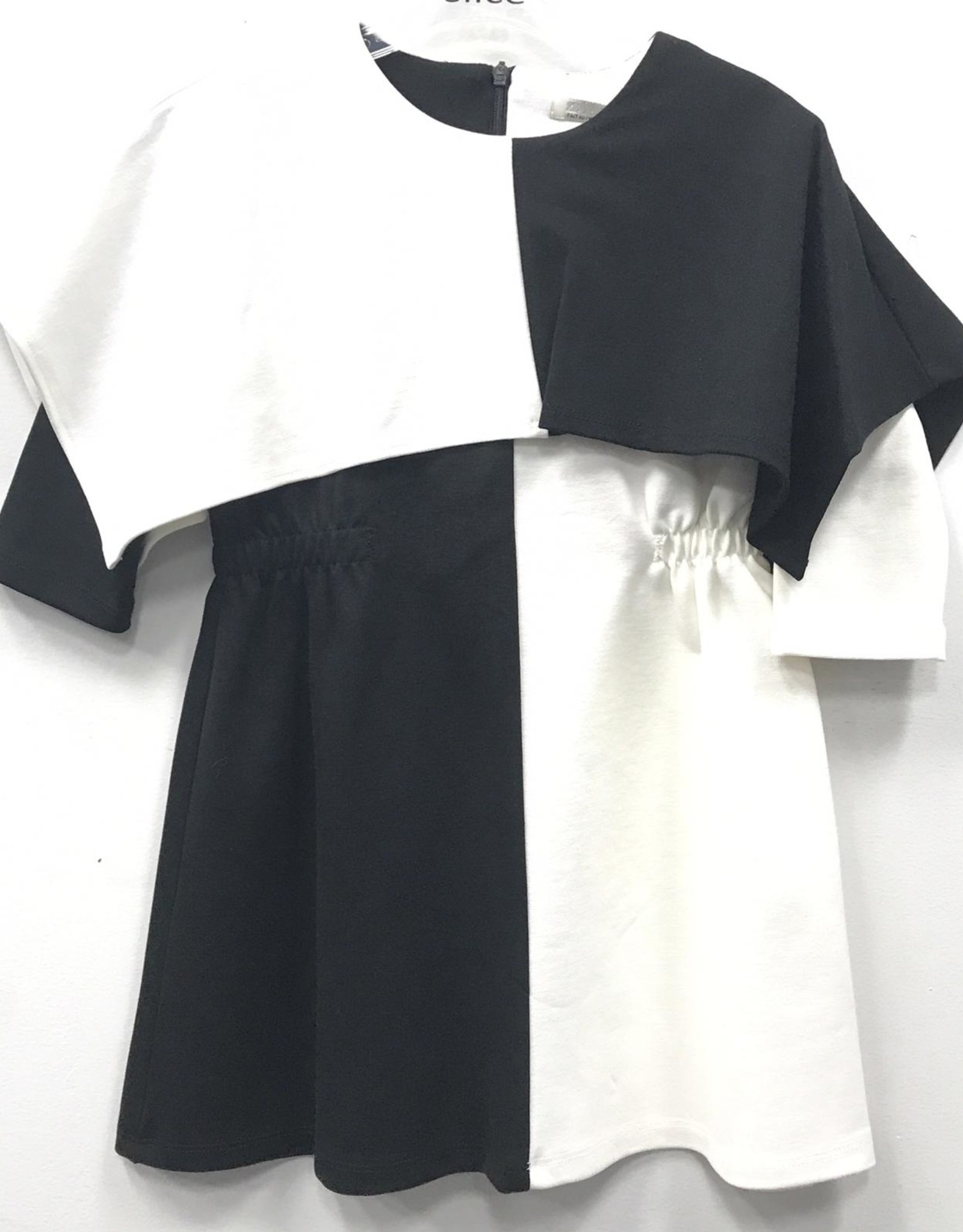 SLICE Slice Black/White Colorblock Dress with Cape