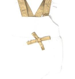 SLICE Slice Crinkle Romper with Gold Straps