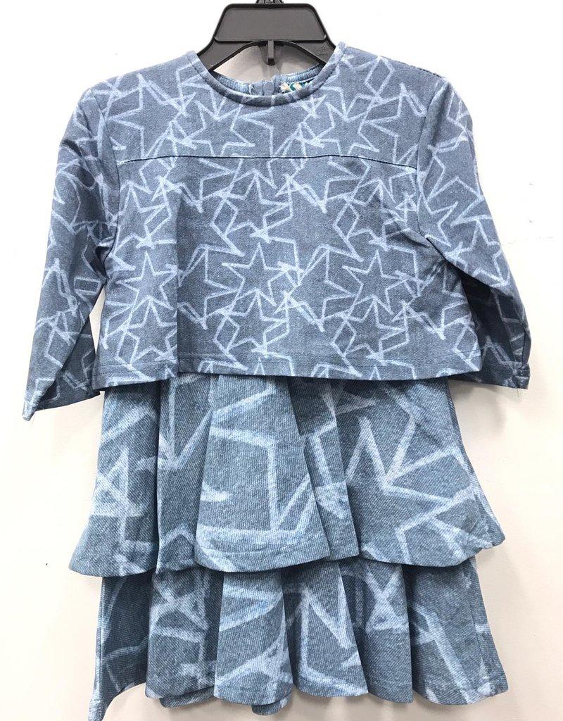Big A Little a Big A Little a Star Tiered Chambray Dress