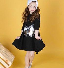 Mocha Noir Mocha Noir Butterfly Applique Dress