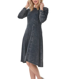 Bella Donna Bella Dona Denim Wash Dress with Ruched Sleeves