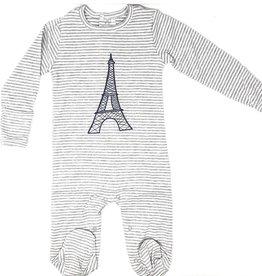 HideNSeek HideNSeek Grey Stripe Footie with Eiffel Tower
